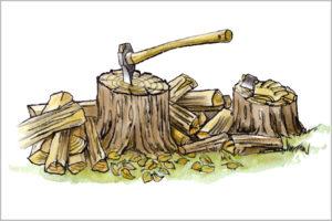 斧で薪を割るイラスト