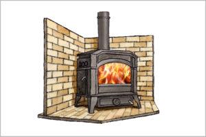 炉台と炉壁のイラスト