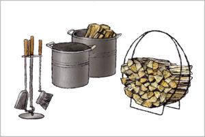 薪ストーブ用のツールのイラスト
